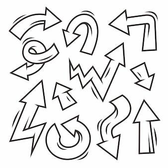 손으로 그린 된 화살표 낙서