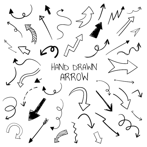 hand drawn arrow red