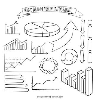 手描きの矢印と他のインフォグラフィック要素