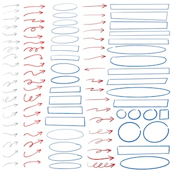 Hand drawn arrows circles and rectangles abstract doodle writing design set