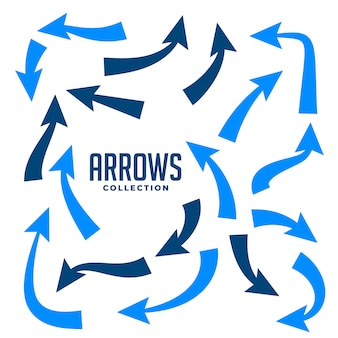Hand drawn arrows collction in blue color