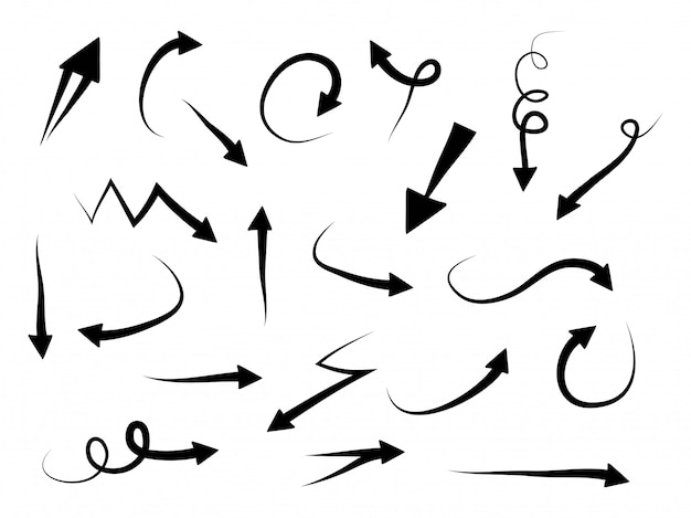 さまざまな方向で描かれた矢印のコレクションを手します。いたずら書き。