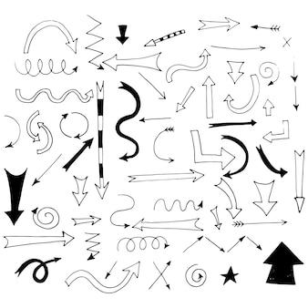 디자인 및 비즈니스 프레젠테이션을 위한 손으로 그린 화살표.