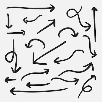 손으로 그린 화살표 아이콘을 설정합니다. 다양한 방향이 있는 화살표 아이콘입니다. 낙서 벡터 일러스트 레이 션. 흰색 배경에 고립.