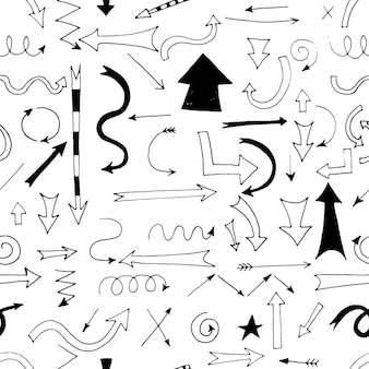 손으로 그린 화살표는 디자인 및 비즈니스 프레젠테이션을 위한 매끄러운 패턴입니다.