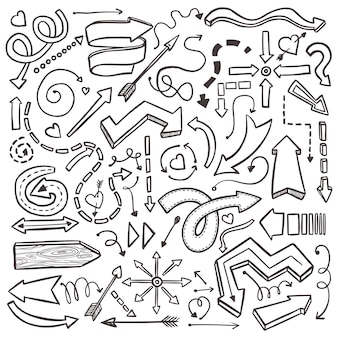 Hand drawn arrows set on white. abstract illustration witn sketch background elements