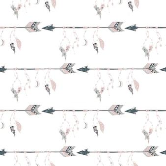 깃털과 구슬 원활한 패턴 손으로 그린 화살표. 보헤미안 화살표.