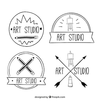 Hand drawn art logos