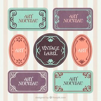 Hand drawn art nouveau vintage badges
