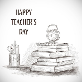 Hand drawn art sketch happy teachers' day composition design