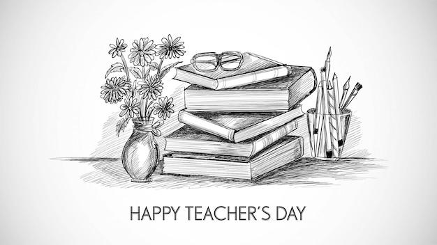 世界の教師の日の構成デザインと手描きアートスケッチ
