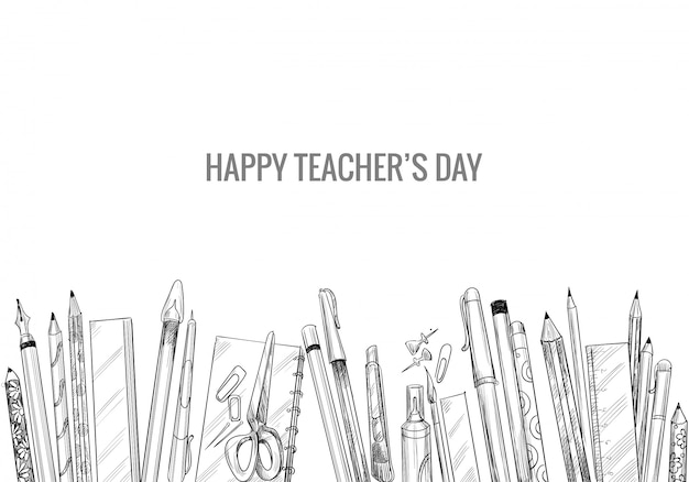 Hand drawn art sketch with world teachers' day composition