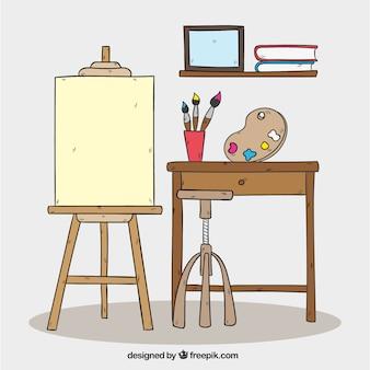 手描きのアートスタジオの背景