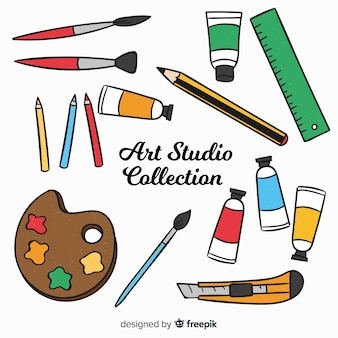 Hand drawn art studio element collection