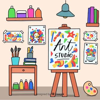 Hand drawn art studio workplace illustration