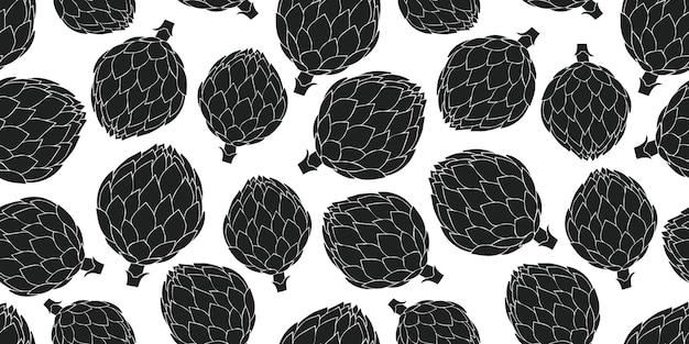 手描きのアーティチョークのシームレスなパターン。有機漫画新鮮な野菜のイラスト。
