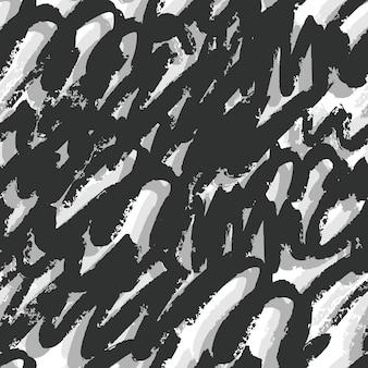Ручной обращается художественные мазки бесшовные модели. черный и серебристый фон чернил на белом фоне. обои граффити. векторная иллюстрация