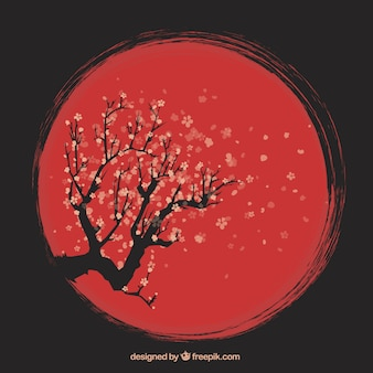 Hand drawn artistic cherry tree background