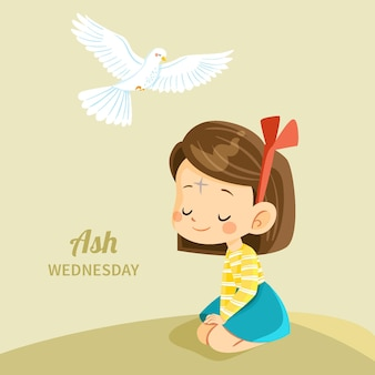Hand drawn ash wednesday illustration