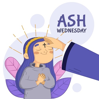 Hand drawn ash wednesday