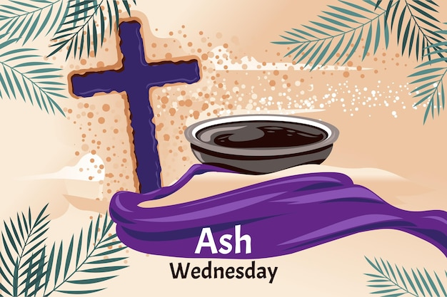 Hand drawn ash wednesday