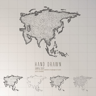 Hand drawn asia map.