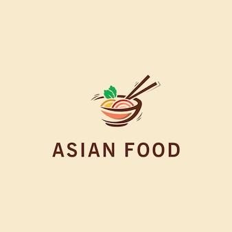Рисованные логотипы азиатской кухни премиум векторы