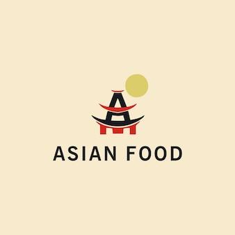 手描きのアジア料理のロゴタイププレミアムベクトル
