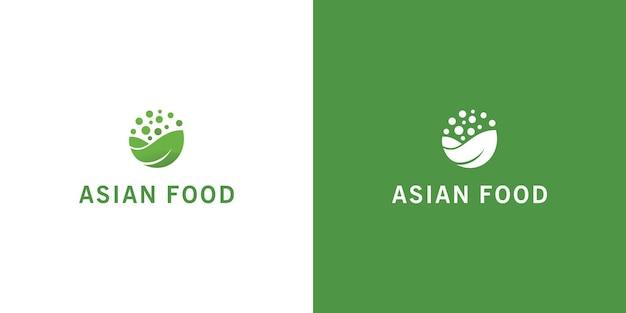 손으로 그린 아시아 음식 로고 프리미엄 벡터