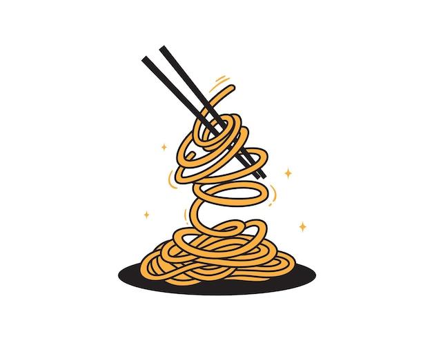箸で手描きアジアンヌードルスープ