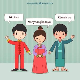 다른 언어를 사용하는 손으로 그린 아시아 사람들