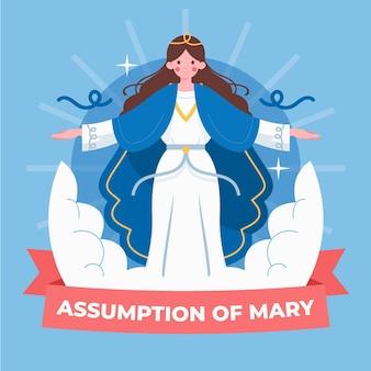 Hand drawn assumption of mary illustration