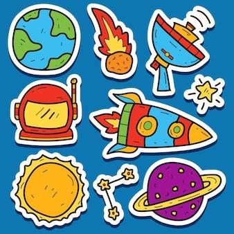 손으로 그린 우주 비행사 만화 낙서 귀엽다 스티커
