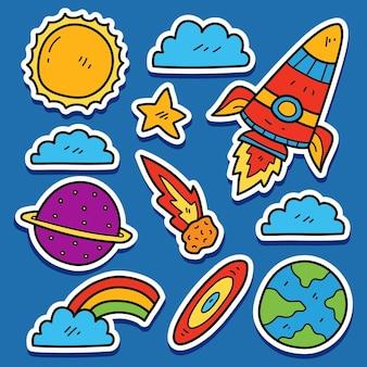 손으로 그린 우주 비행사 만화 낙서 패턴 디자인