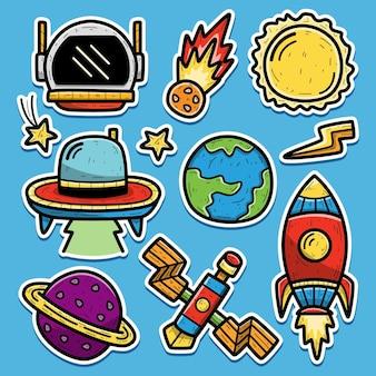손으로 그린 우주 비행사 만화 낙서 스티커 디자인