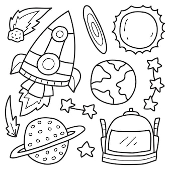 Hand drawn astronaut doodle cartoon coloring design