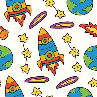 손으로 그린 우주 비행사 낙서 만화 일러스트 패턴 디자인 프리미엄 벡터