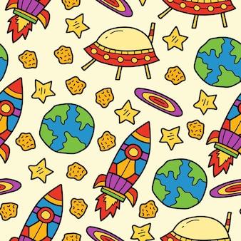 손으로 그린 우주 비행사 낙서 만화 원활한 패턴 디자인