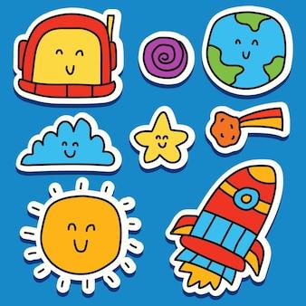 손으로 그린 우주 비행사 낙서 만화 스티커 디자인