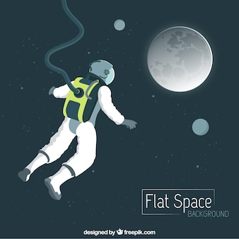 Hand drawn astronaut flying to the moon