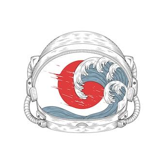 Hand drawn astronaut helmet and japanese style wave illustration