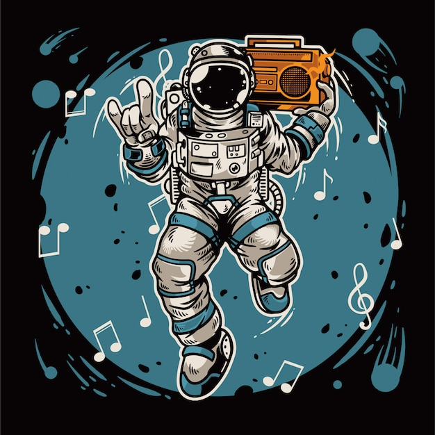 Hand drawn astronaut holding radio and dancing in the space