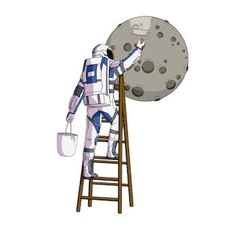 月のイラストを描く手描きの宇宙飛行士