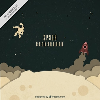 Hand drawn astronaut with rocket on the moon background