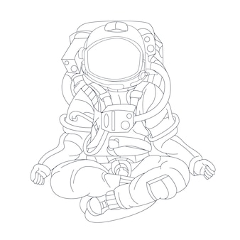 손으로 그린 우주 비행사 요가 흰색 절연