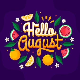 Hand drawn august lettering with fruits