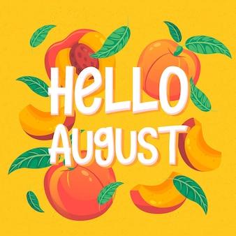 Iscrizione di agosto disegnata a mano con frutti with