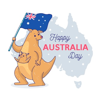 Нарисованная рукой концепция дня австралии