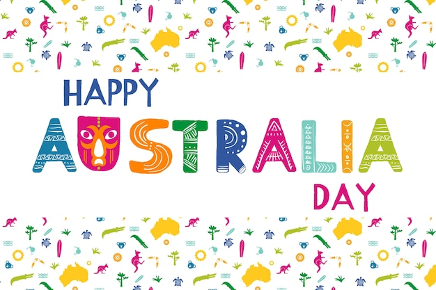 Hand drawn australia day wallpaper