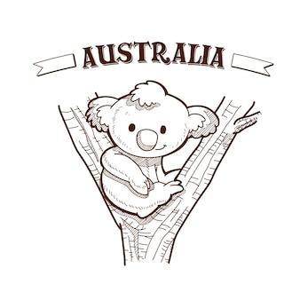 나무에 앉아 코알라와 함께 손으로 그린 호주의 날